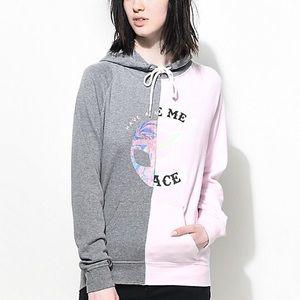 Women's Grey & Pink Large Hoodie